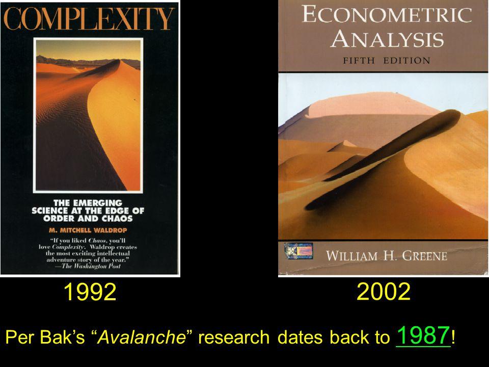 1992 2002 Per Bak's Avalanche research dates back to 1987 !
