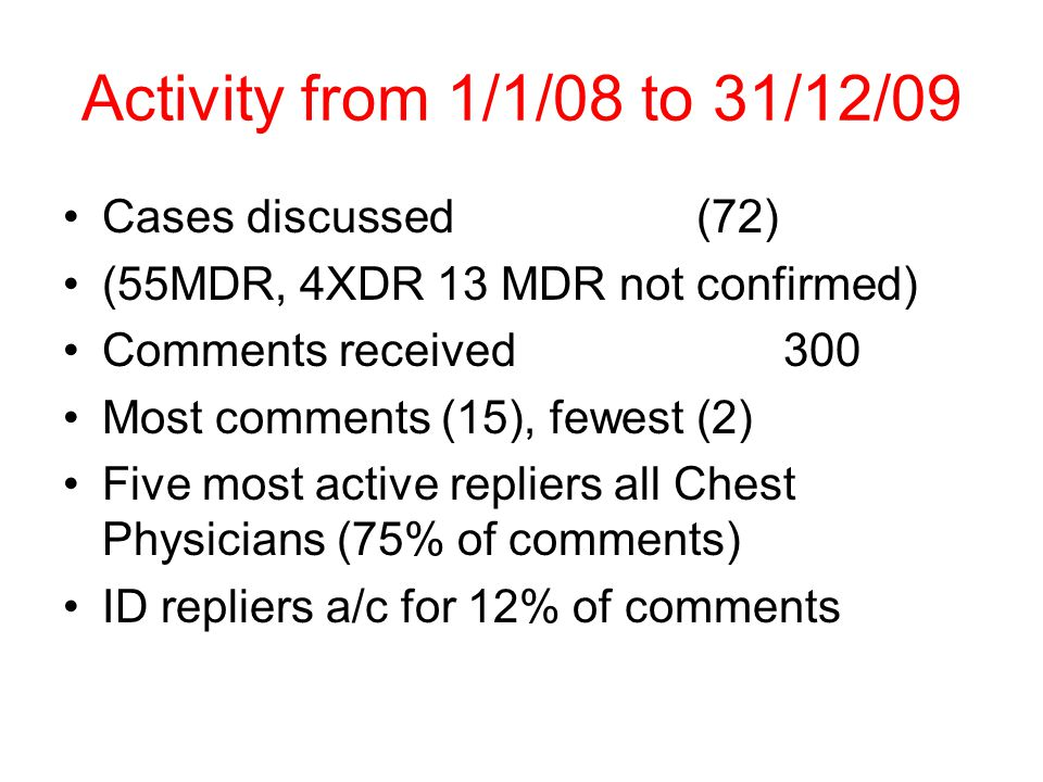 Activity from 1/1/08 to 31/12/09 Cases discussed (72) (55MDR, 4XDR 13 MDR not confirmed) Comments received 300 Most comments (15), fewest (2) Five most active repliers all Chest Physicians (75% of comments) ID repliers a/c for 12% of comments