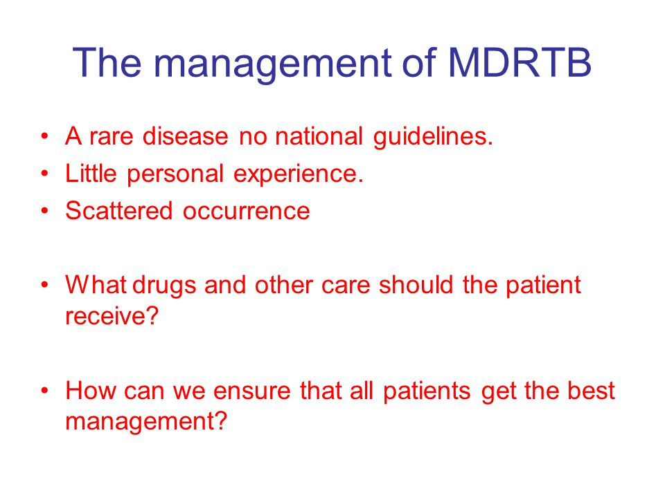 Management of MDRTB DON'T