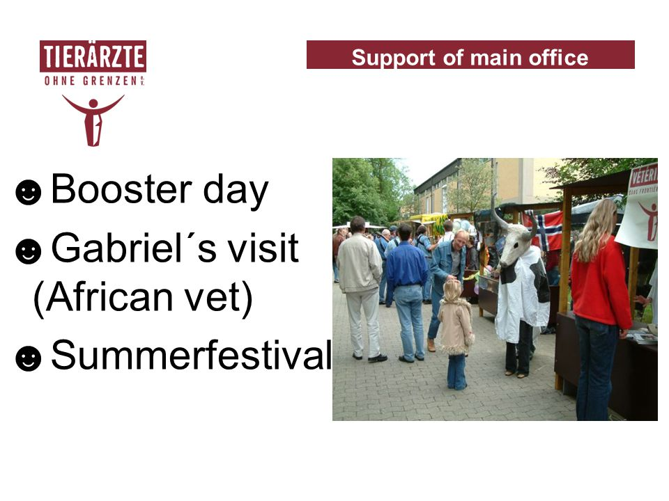 ☻Booster day ☻Gabriel´s visit (African vet) ☻Summerfestival Support of main office