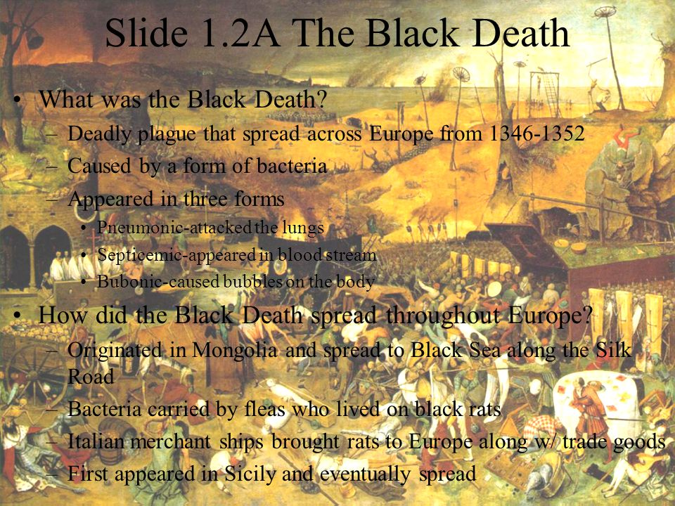 Slide 1.2A The Black Death What was the Black Death? –Deadly plague that spread across Europe from 1346-1352 –Caused by a form of bacteria –Appeared i