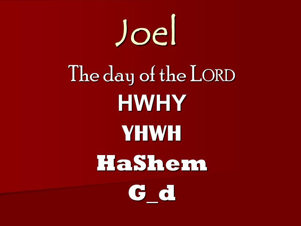 Joel The day of the L ORD HWHYYHWHHaShemG_d