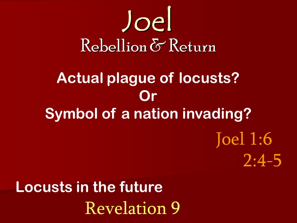 Joel Rebellion & Return Joel 1:6 2:4-5 Actual plague of locusts.