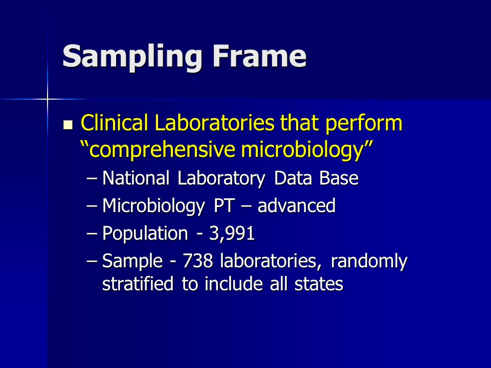 Sampling Frame Clinical Laboratories that perform comprehensive microbiology Clinical Laboratories that perform comprehensive microbiology –National Laboratory Data Base –Microbiology PT – advanced –Population - 3,991 –Sample - 738 laboratories, randomly stratified to include all states