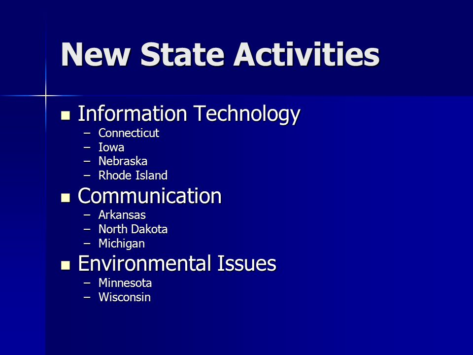 New State Activities Information Technology Information Technology –Connecticut –Iowa –Nebraska –Rhode Island Communication Communication –Arkansas –North Dakota –Michigan Environmental Issues Environmental Issues –Minnesota –Wisconsin
