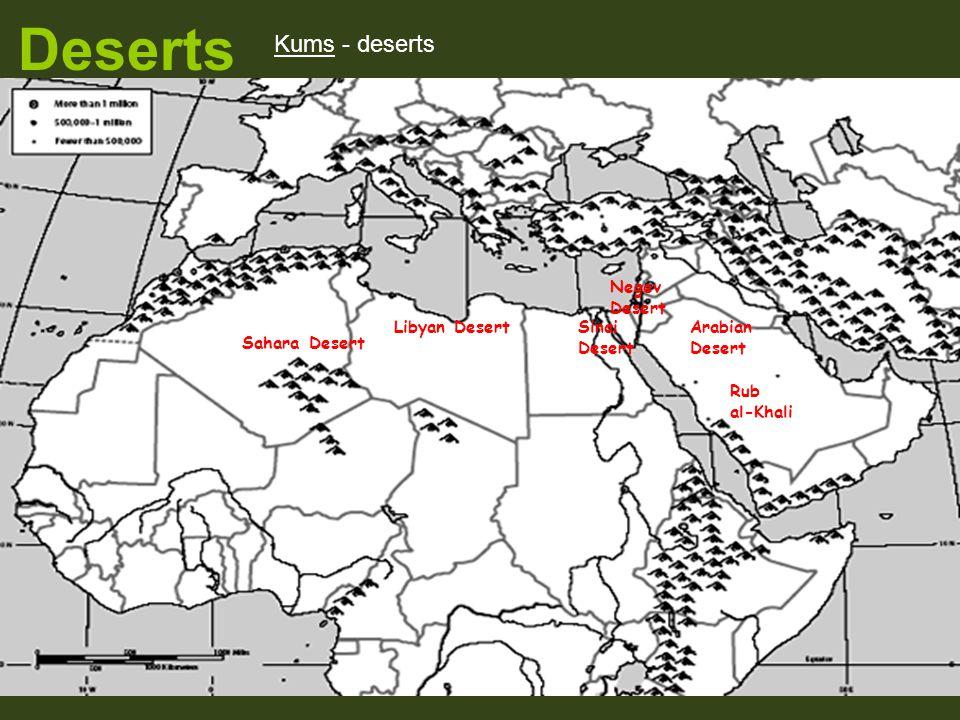 Deserts Sahara Desert Arabian Desert Negev Desert Sinai Desert Libyan Desert Rub al-Khali Kums - deserts