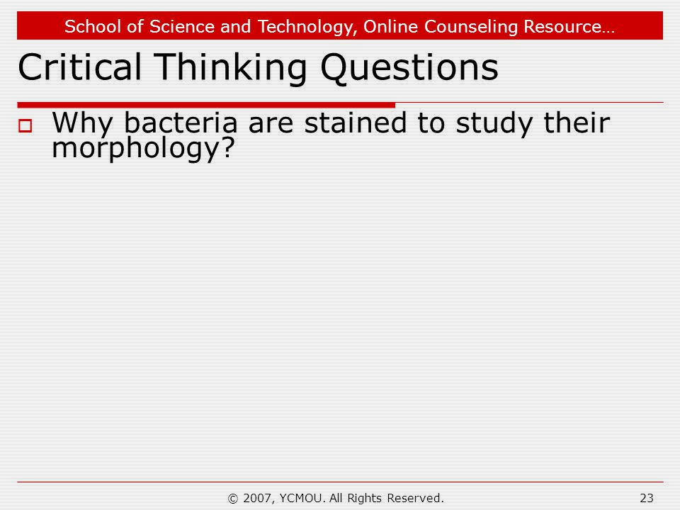 School of Science and Technology, Online Counseling Resource… © 2007, YCMOU. All Rights Reserved.23 Critical Thinking Questions  Why bacteria are sta