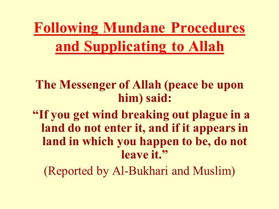Following Mundane Procedures and Supplicating to Allah The Messenger of Allah (peace be upon him) said: If you get wind breaking out plague in a land do not enter it, and if it appears in land in which you happen to be, do not leave it. (Reported by Al-Bukhari and Muslim)