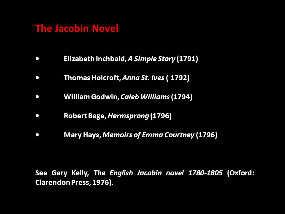 The Jacobin Novel Elizabeth Inchbald, A Simple Story (1791) Thomas Holcroft, Anna St.