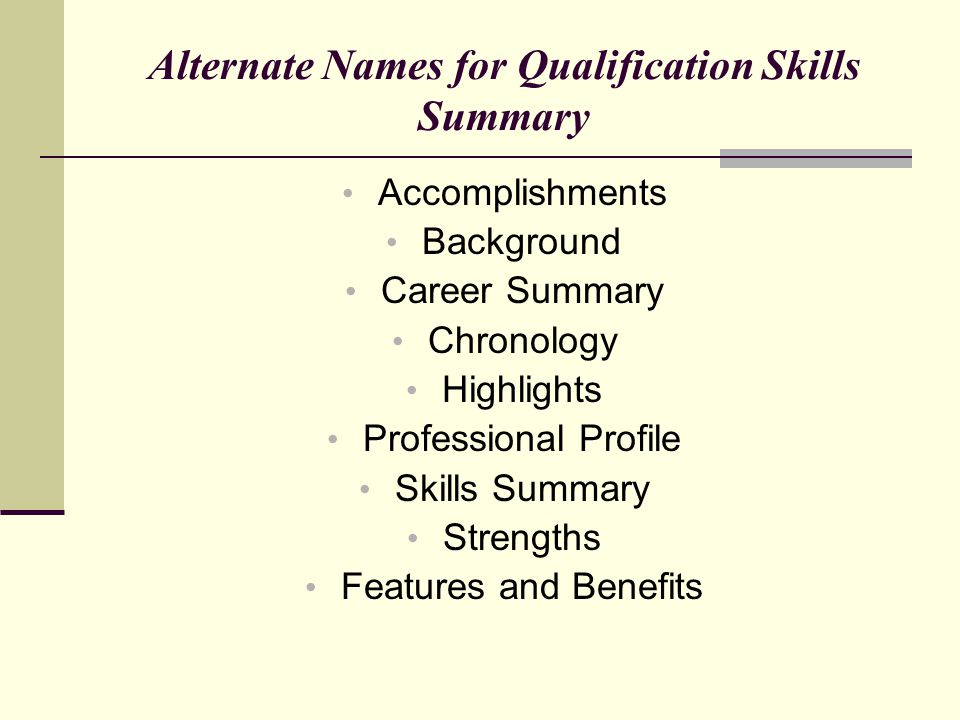 Alternate Names for Qualification Skills Summary Accomplishments Background Career Summary Chronology Highlights Professional Profile Skills Summary S