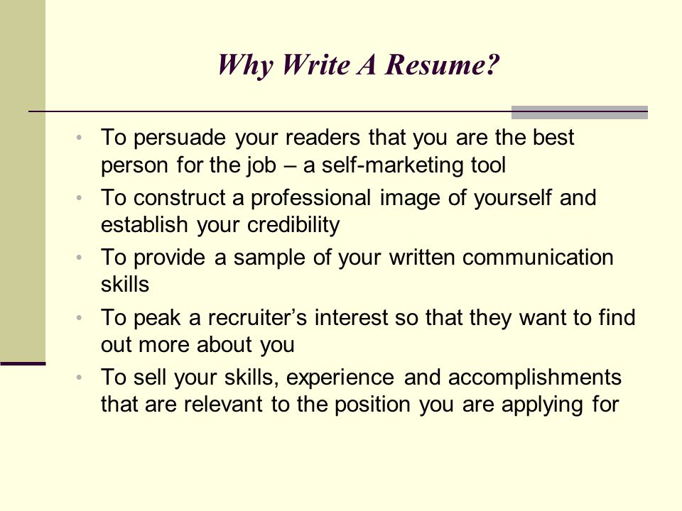 A Targeted Resume A targeted resume addresses the employer's need for a specific skills set The resume content includes experience and accomplishments that are relevant to the targeted skill(s) It quickly demonstrates to the employer that you are a good match for the position