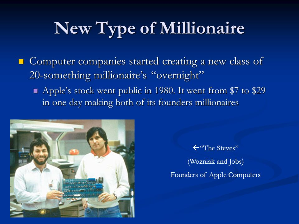 "New Type of Millionaire Computer companies started creating a new class of 20-something millionaire's ""overnight"" Computer companies started creating"