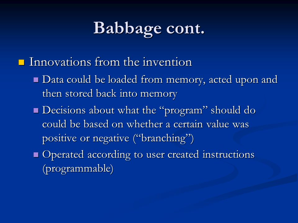 Babbage cont.