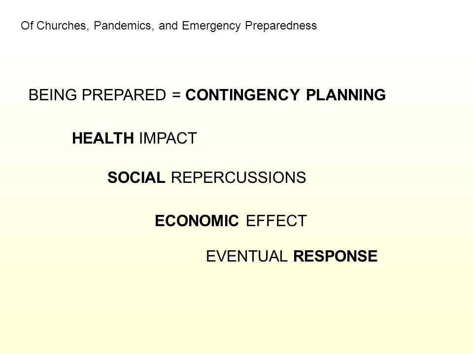 Of Churches, Pandemics, and Emergency Preparedness BEING PREPARED = CONTINGENCY PLANNING HEALTH IMPACT SOCIAL REPERCUSSIONS ECONOMIC EFFECT EVENTUAL R