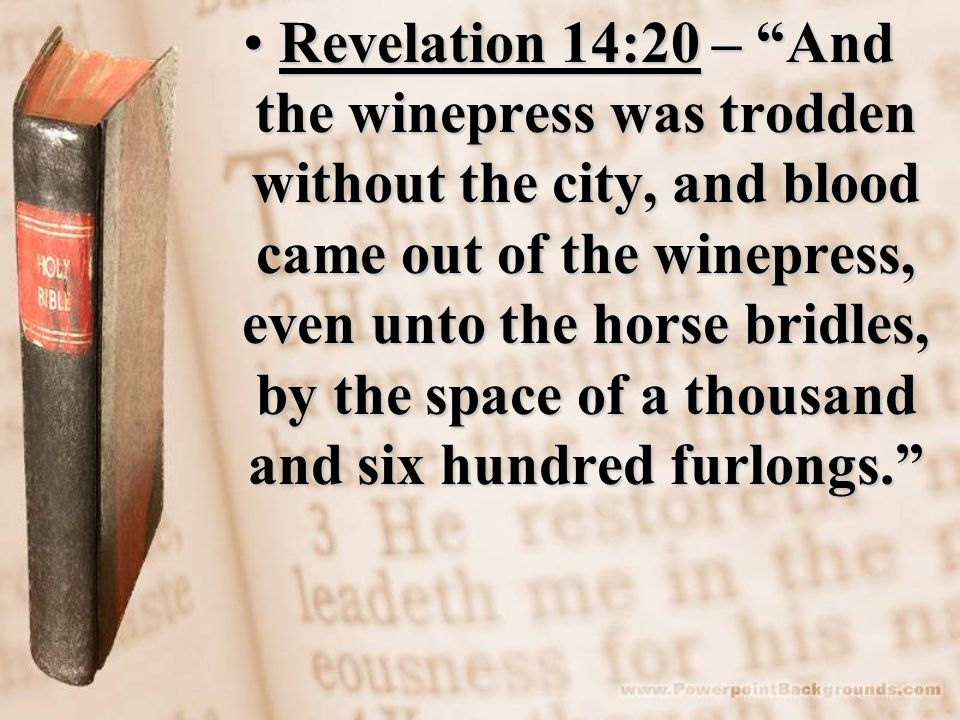 Revelation 14:20 – And the winepress was trodden without the city, and blood came out of the winepress, even unto the horse bridles, by the space of a thousand and six hundred furlongs. Revelation 14:20 – And the winepress was trodden without the city, and blood came out of the winepress, even unto the horse bridles, by the space of a thousand and six hundred furlongs.