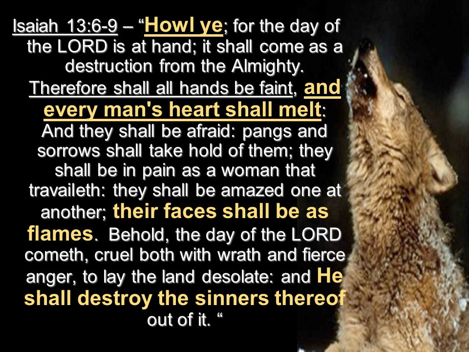 Isaiah 13:6-9 – ; for the day of the LORD is at hand; it shall come as a destruction from the Almighty.