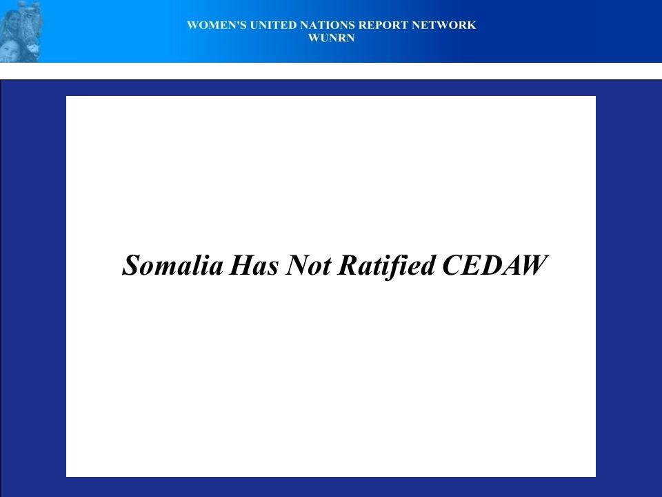 Somalia Has Not Ratified CEDAW