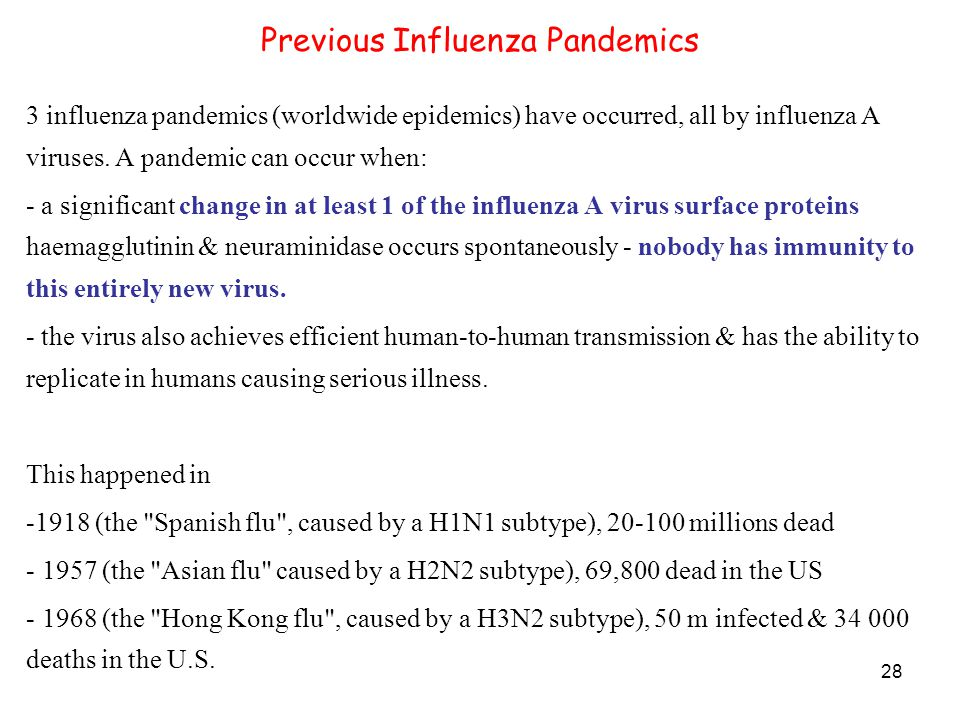 28 Previous Influenza Pandemics 3 influenza pandemics (worldwide epidemics) have occurred, all by influenza A viruses.