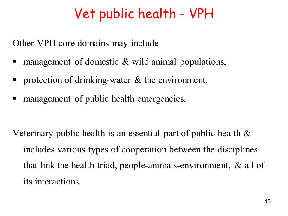 45 Vet public health - VPH Other VPH core domains may include  management of domestic & wild animal populations,  protection of drinking-water & the environment,  management of public health emergencies.