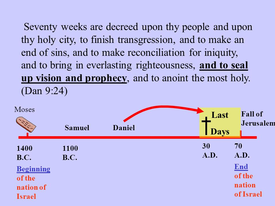 Seventy weeks are decreed upon thy people and upon thy holy city, to finish transgression, and to make an end of sins, and to make reconciliation for iniquity, and to bring in everlasting righteousness, and to seal up vision and prophecy, and to anoint the most holy.