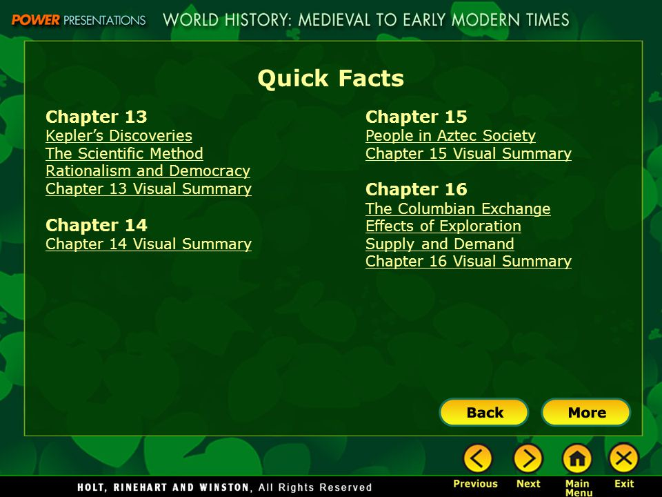 Quick Facts Chapter 13 Kepler's Discoveries The Scientific Method Rationalism and Democracy Chapter 13 Visual Summary Chapter 14 Chapter 14 Visual Sum