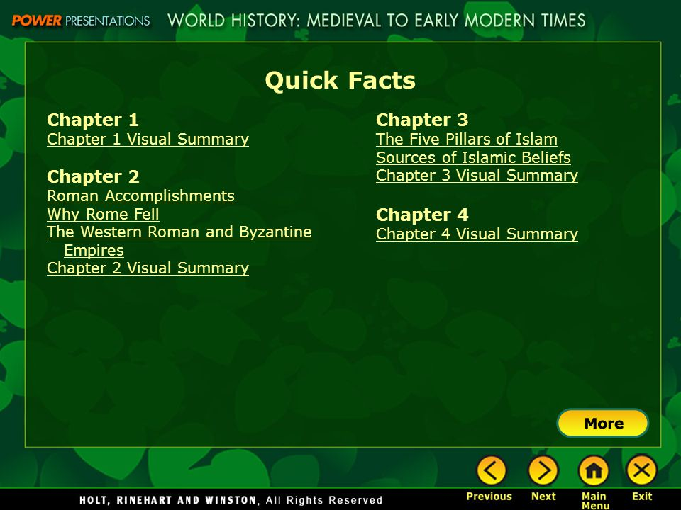 Quick Facts Chapter 1 Chapter 1 Visual Summary Chapter 2 Roman Accomplishments Why Rome Fell The Western Roman and Byzantine Empires Chapter 2 Visual