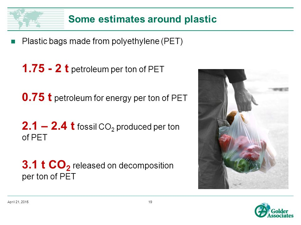 Some estimates around plastic Plastic bags made from polyethylene (PET) 1.75 - 2 t petroleum per ton of PET 0.75 t petroleum for energy per ton of PET 2.1 – 2.4 t fossil CO 2 produced per ton of PET 3.1 t CO 2 released on decomposition per ton of PET April 21, 201519
