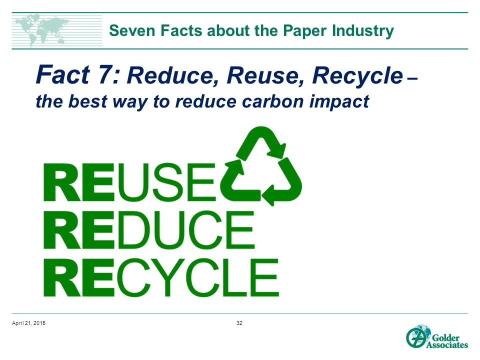 Seven Facts about the Paper Industry Fact 7: Reduce, Reuse, Recycle – the best way to reduce carbon impact April 21, 201532