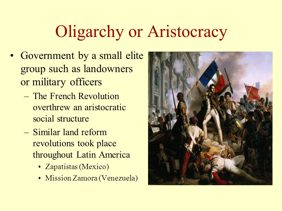 Oligarchy or Aristocracy Government by a small elite group such as landowners or military officers –The French Revolution overthrew an aristocratic so