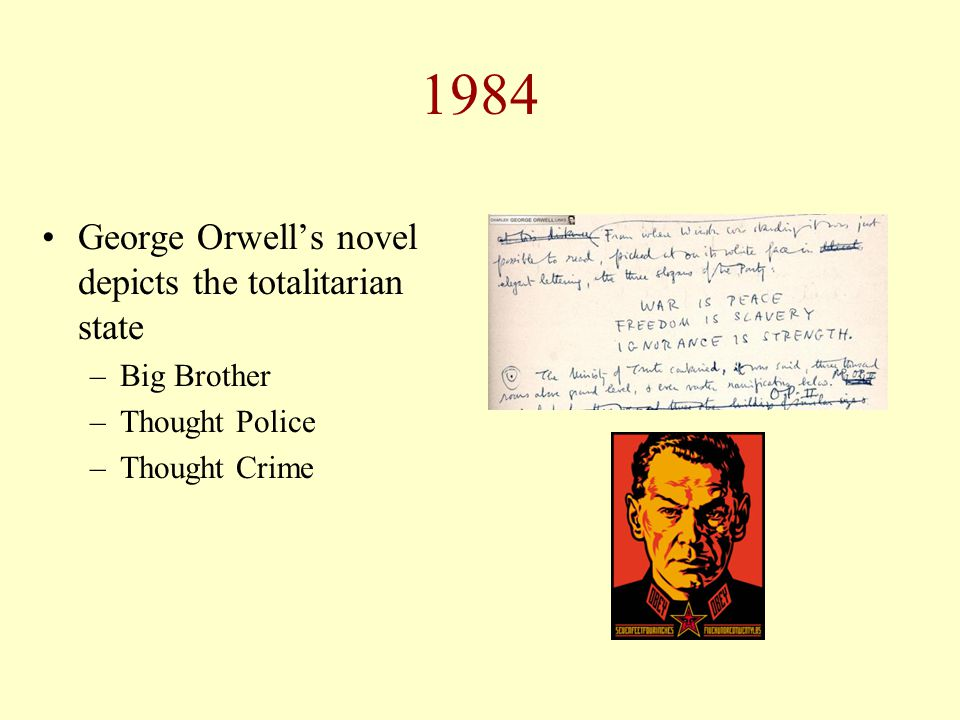 1984 George Orwell's novel depicts the totalitarian state –Big Brother –Thought Police –Thought Crime