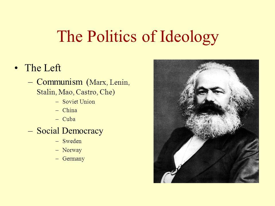 The Politics of Ideology The Left –Communism ( Marx, Lenin, Stalin, Mao, Castro, Che) –Soviet Union –China –Cuba –Social Democracy –Sweden –Norway –Germany