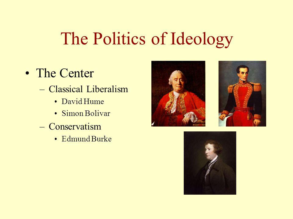 The Politics of Ideology The Center –Classical Liberalism David Hume Simon Bolivar –Conservatism Edmund Burke