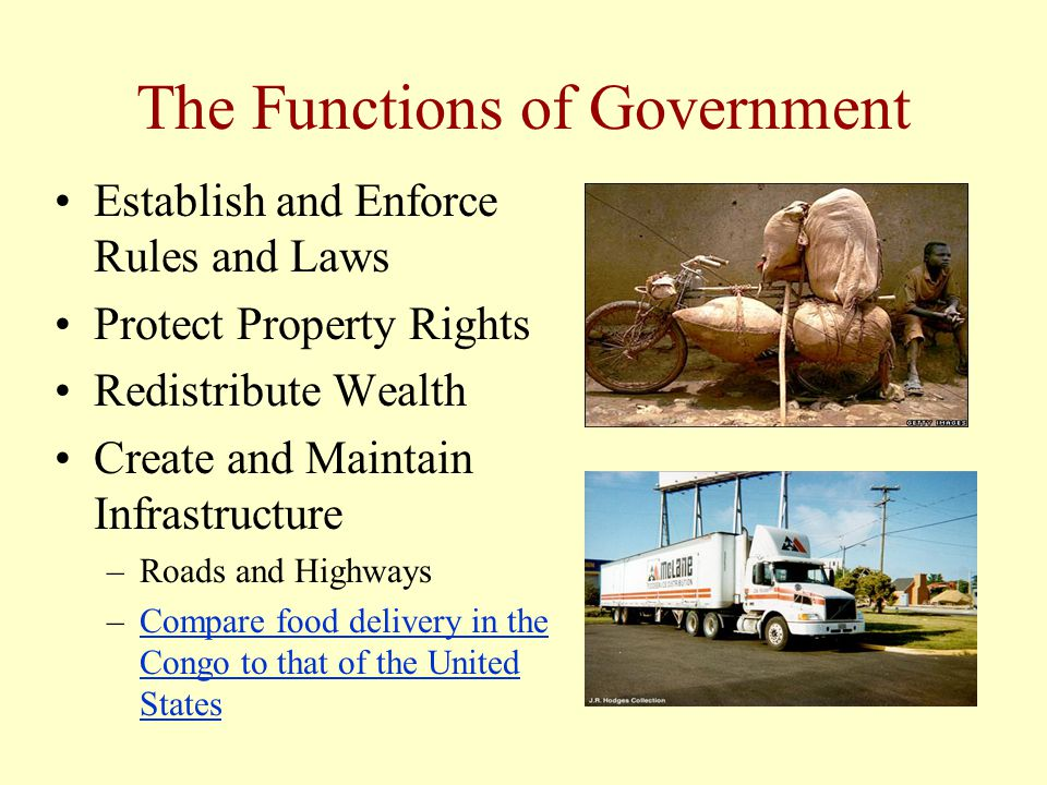 The Functions of Government Establish and Enforce Rules and Laws Protect Property Rights Redistribute Wealth Create and Maintain Infrastructure –Roads