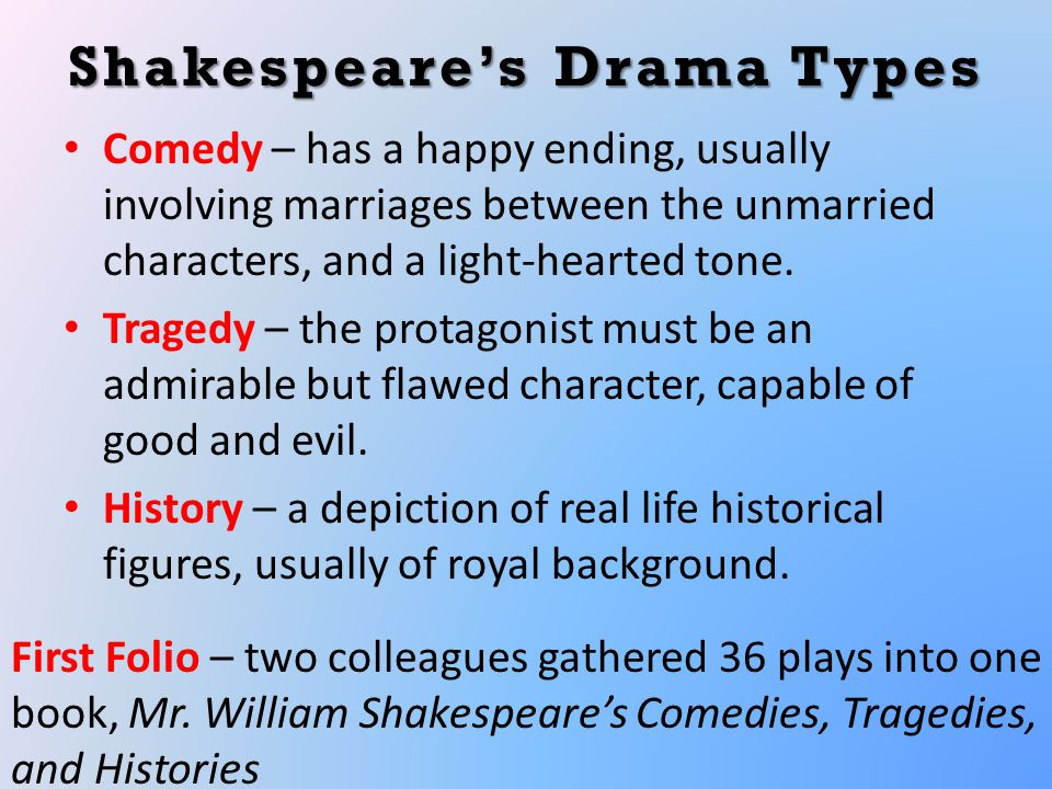 Shakespeare's Drama Types Comedy – has a happy ending, usually involving marriages between the unmarried characters, and a light-hearted tone.