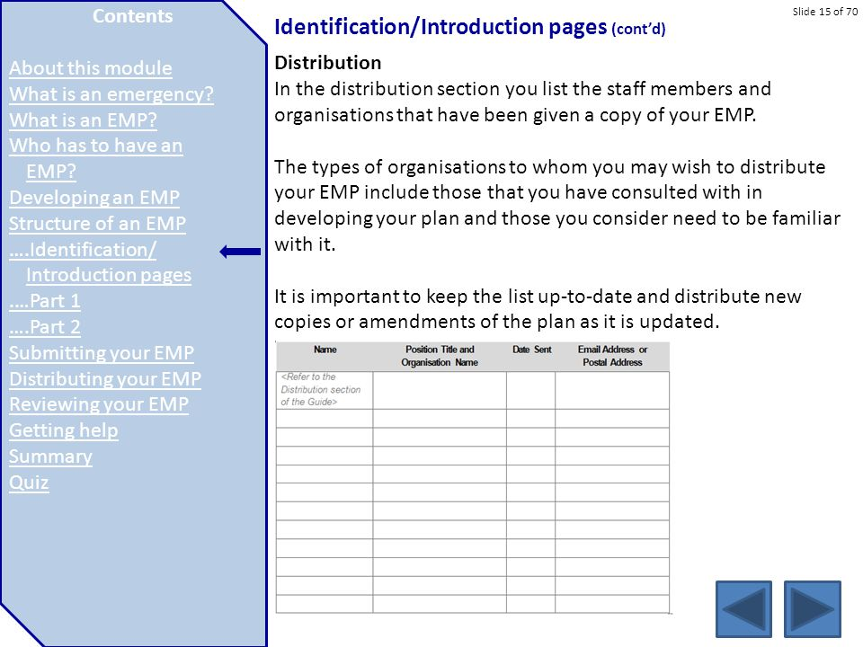 Slide 15 of 70 Identification/Introduction pages (cont'd) Distribution In the distribution section you list the staff members and organisations that h