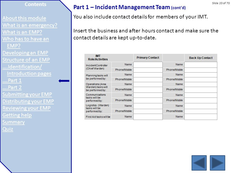 Slide 20 of 70 Part 1 – Incident Management Team (cont'd) You also include contact details for members of your IMT. Insert the business and after hour