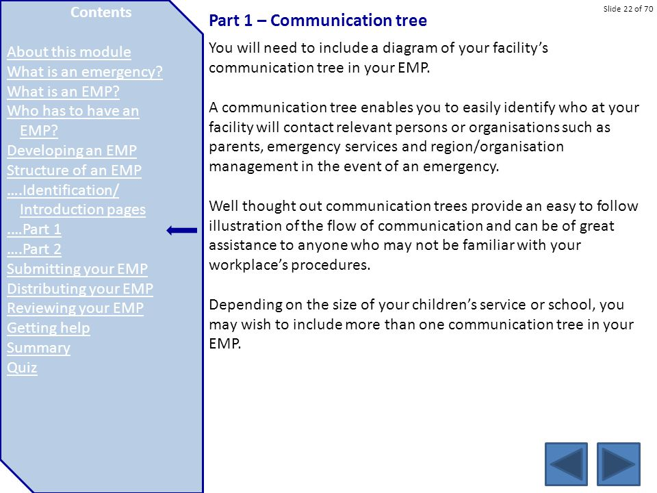 Slide 22 of 70 Part 1 – Communication tree You will need to include a diagram of your facility's communication tree in your EMP. A communication tree