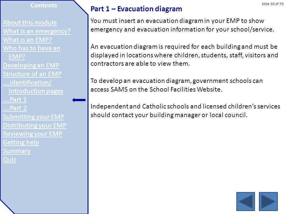 Slide 30 of 70 Part 1 – Evacuation diagram You must insert an evacuation diagram in your EMP to show emergency and evacuation information for your sch