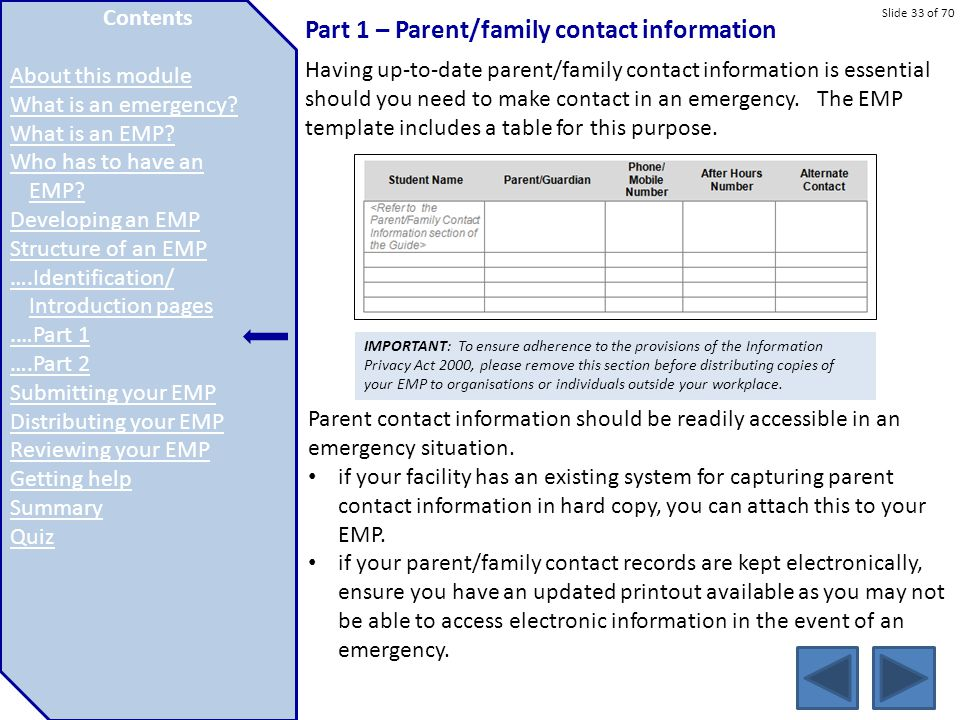 Slide 33 of 70 Part 1 – Parent/family contact information Having up-to-date parent/family contact information is essential should you need to make con