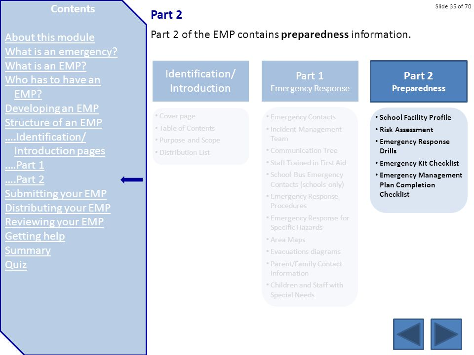 Slide 35 of 70 Part 2 Part 2 of the EMP contains preparedness information. Emergency Contacts Incident Management Team Communication Tree Staff Traine