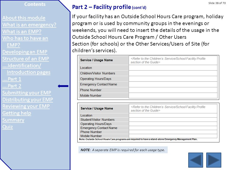 Slide 38 of 70 Part 2 – Facility profile (cont'd) If your facility has an Outside School Hours Care program, holiday program or is used by community g