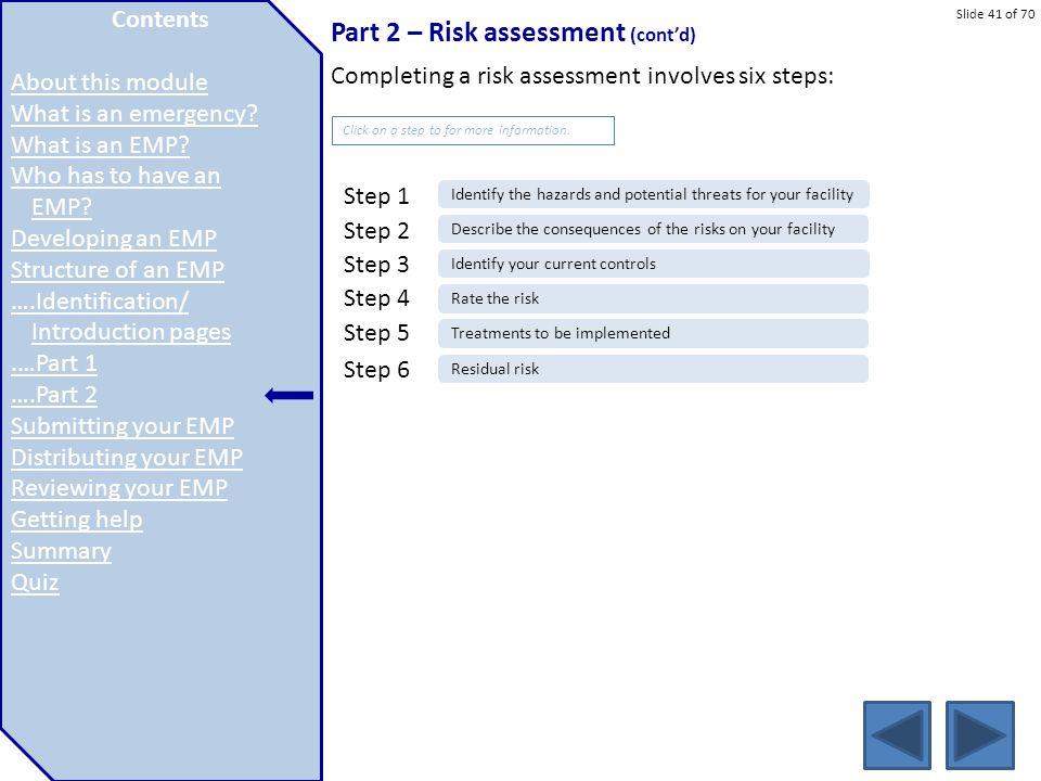 Slide 41 of 70 Part 2 – Risk assessment (cont'd) Completing a risk assessment involves six steps:.education.vic.gov.au/about/programs/health/Pages/eva