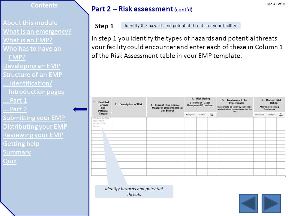 Slide 42 of 70 Part 2 – Risk assessment (cont'd) In step 1 you identify the types of hazards and potential threats your facility could encounter and e