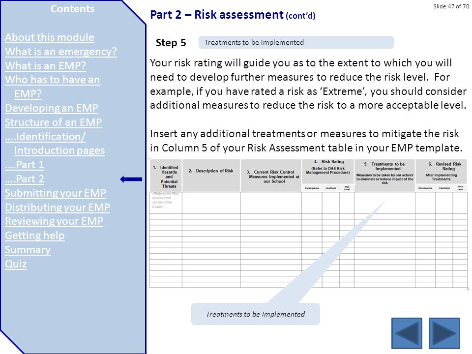 Slide 47 of 70 Part 2 – Risk assessment (cont'd) Your risk rating will guide you as to the extent to which you will need to develop further measures t