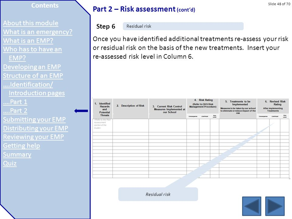 Slide 48 of 70 Part 2 – Risk assessment (cont'd) Once you have identified additional treatments re-assess your risk or residual risk on the basis of t