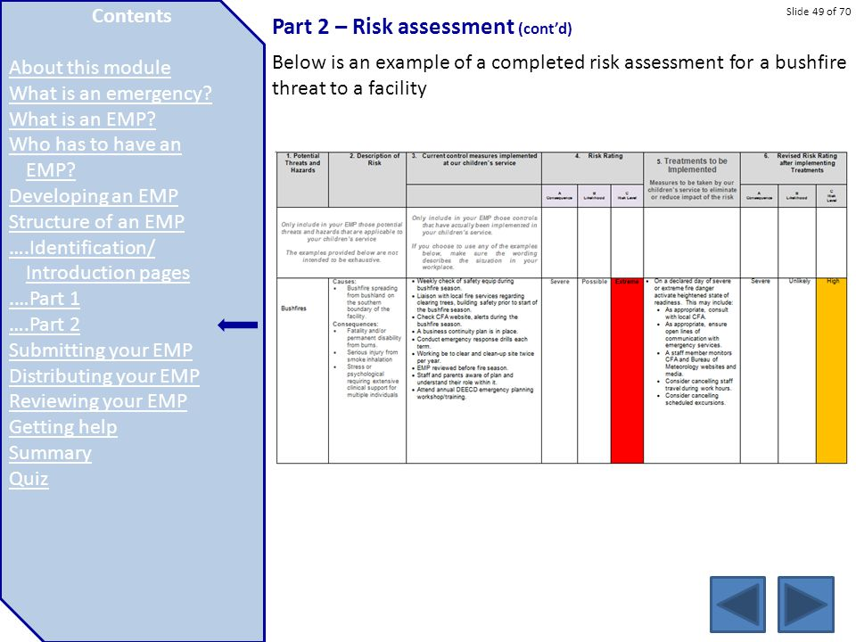 Slide 49 of 70 Part 2 – Risk assessment (cont'd) Below is an example of a completed risk assessment for a bushfire threat to a facility Contents About
