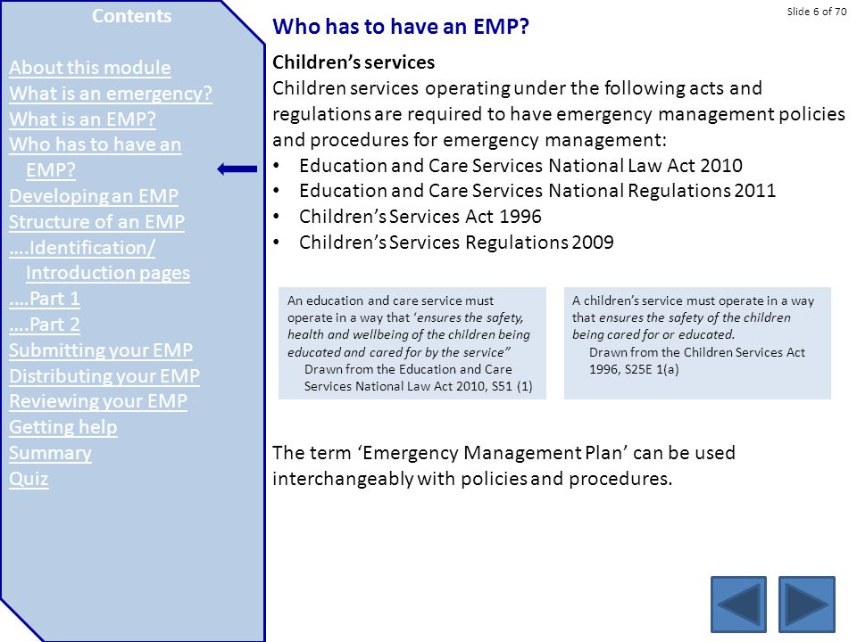 Slide 6 of 70 Who has to have an EMP? Children's services Children services operating under the following acts and regulations are required to have em