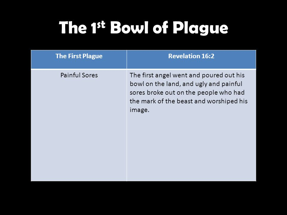 The 1 st Bowl of Plague The First PlagueRevelation 16:2 Painful SoresThe first angel went and poured out his bowl on the land, and ugly and painful sores broke out on the people who had the mark of the beast and worshiped his image.