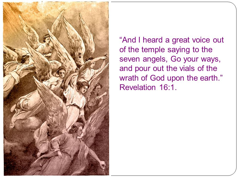 Here we are shown the terrible seven last plagues that will fall on the wicked inhabitants of this world who are determined to destroy God's waiting, faithful children.
