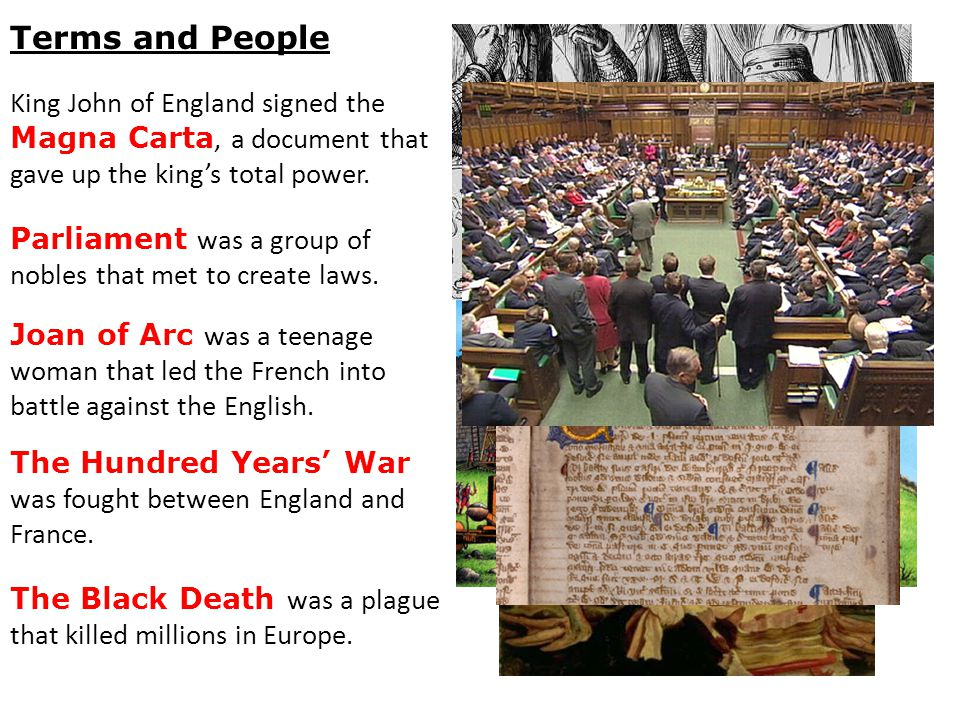 Terms and People King John of England signed the Magna Carta, a document that gave up the king's total power.